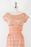 1950's Love's First Blush Lace Sheath Dress l M
