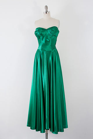 1940's Emerald Satin Kelly Gown l XS