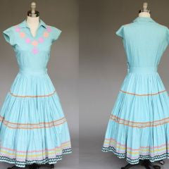 1950s Countryside Morning Tiered Dress l M