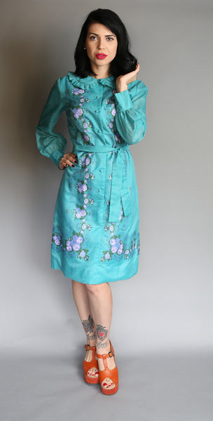 1960's Alfred Shaheen Hand-painted Dress l L