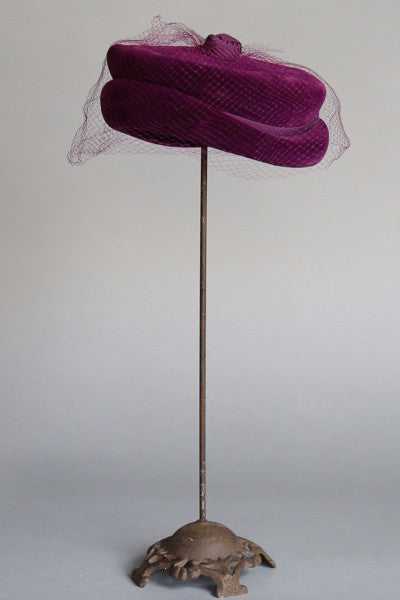 1950's Sibley's Bordeaux Velvet Hat