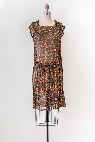 1920's Painted Daisy Silk Dress | XS-Small
