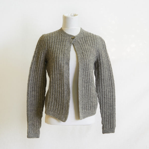 1960's Ribbed Wool Hand-knit Cardigan l S