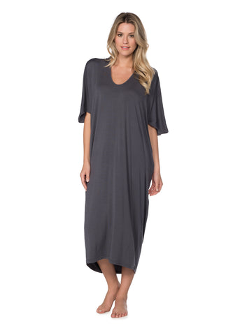 Barefoot Dreams Luxe Milk Jersey Caftan in Black