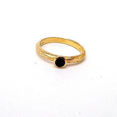 Vintage Gold Plated Sterling Silver Blue Garnet Ring l 8.5