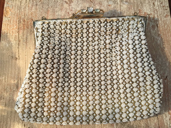 Antique 1920s French Metallic Beaded Mesh Evening Bag