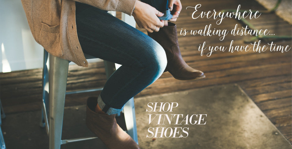 Shop vintage shoes, vintage sandals, vintage boots, online vintage shoe shop!