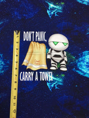 Hitchhikers Don't panic small custom knit panel approx 16x19