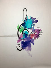 "Water color Treble music panel approx. 18""x21"""
