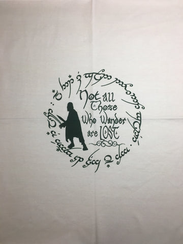 "LOTR Not All Who Wander light custom knit panel approx 16""x19"""