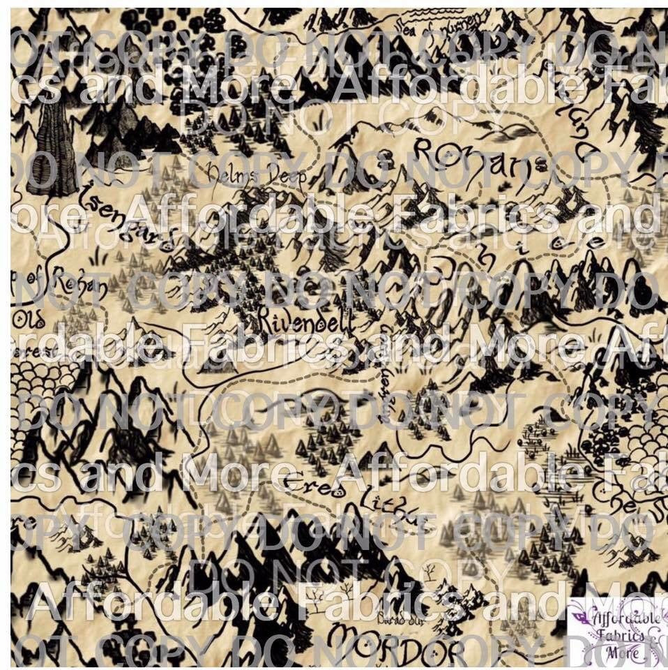LOTR Map black on beige custom knit