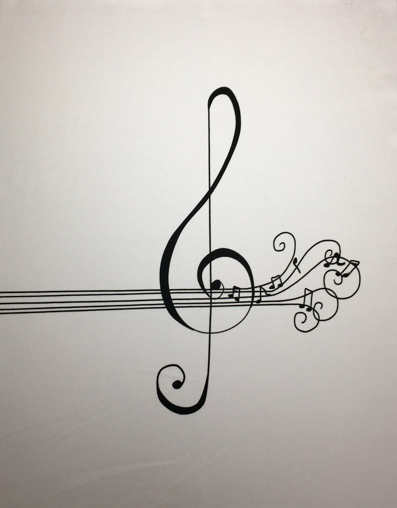 "Water color music Black and White Treble panel approx. 18""x21"""