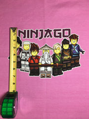 "Ninja collage pink custom knit panel approx 18""x21"