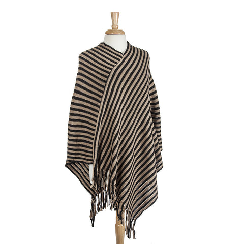 Black & Caramel Stripped Poncho