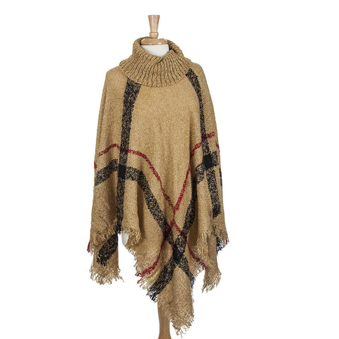 Caramel Check Poncho with Frayed Edge