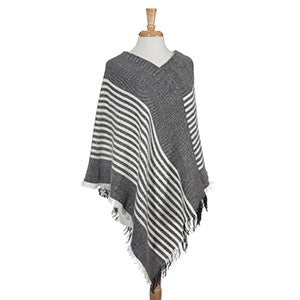 Charcoal & White Stripped Poncho