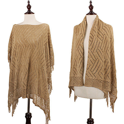 Lace Knit Poncho with Fringe