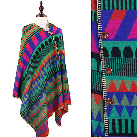Multi-color Geo Pattern Cape