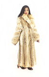 Coyote Fur Coat Coats Large Plush Shawl Collar S/M - Purple Shoshana Furs