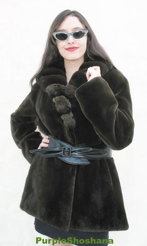 Hot! Candaian Sheared Beaver Fur Coat + Chinchilla M - Purple Shoshana Furs