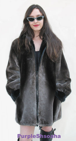 Phantom Sheared Beaver Fur Coat/Bomber M - Purple Shoshana Furs