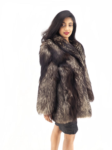 Silver Fox Fur Jacket Jackets Stroller Shawl Collar S/M - Purple Shoshana Furs