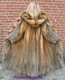 "Sensational Hooded Solid Multi Color Cross Fox Canadian Fur Coat 80"" Sweep M/L"