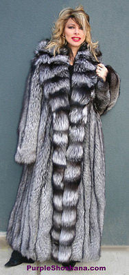 "Sensational Solid Silver Fox Canadian Fur Coat 94"" Sweep M/L"