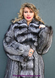 "Sensational Solid Silver Fox Canadian Fur Coat 94"" Sweep M/L - Purple Shoshana Furs"