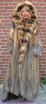 "Sensational Hooded Solid Multi Color Cross Fox Canadian Fur Coat 80"" Sweep M/L - Purple Shoshana Furs"