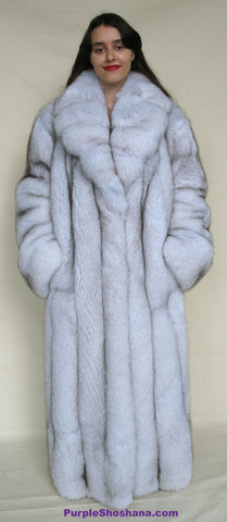 Gorgeous Plush Blue Fox Solid Silver Fur Coat Stroller M/L/XL  Made in Canada - Purple Shoshana Furs