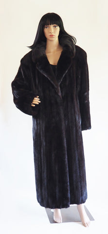 American Legend Top Quality Dark Ranch Black Mink Fur Coat Jacket L/XL Unisex - Purple Shoshana Furs