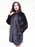 Dark Ranch Black SAGA Mink Fur Jacket S No Monogram - Purple Shoshana Furs