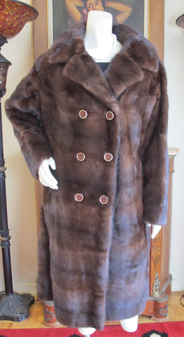 Demi Buff Lunarain Mahogany Dark Brown Mink Coat L/XL Double Breasted - Purple Shoshana Furs