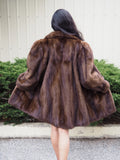 Demi Buff Lunarain Mahogany Dark Brown SAGA Mink Fur Coat Stroller Jacket M/L - Purple Shoshana Furs