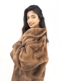 Pastel Mink Fur Coat Stroller Long Jacket M Modern Style L/XL - Purple Shoshana Furs