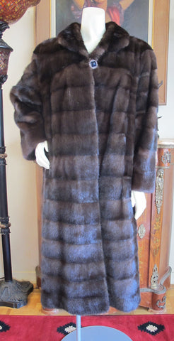 "Demi Buff Lunarain Mahogany Dark Brown Mink Coat L/XL 72"" Sweep - Purple Shoshana Furs"