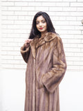 "Dark Pastel Canadian Solid Brown Female Mink Fur Coat Coats M/L 82"" Sweep"