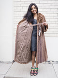 "Dark Pastel Canadian Solid Brown Female Mink Fur Coat Coats M/L 82"" Sweep - Purple Shoshana Furs"