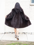 Dark Ranch Reversible Female Mink Unique Coat Stroller M/L - Purple Shoshana Furs