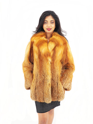 RED FOX FUR SHORT JACKET JACKETS S - Purple Shoshana Furs