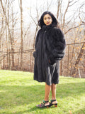 Dark Ranch Charcoal Reversible Female Mink Unique Coat Stroller M/L - Purple Shoshana Furs