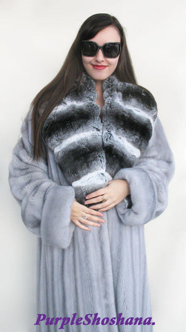 Glamorous Blue Sapphire Female Solid Silver Canadian Mink Fur Coat M/L