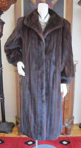 Dark Mahogany Brown Mink Fur Coat Coats M P - Purple Shoshana Furs