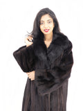 Dark Ranch Black Mink Coat With Black fox Notch Collar M/L - Purple Shoshana Furs