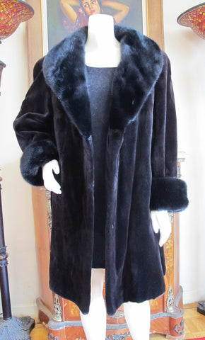 Dark Brown Sheared Mink with Black Mink Collar and Cuffs Coat Coats L/XL - Purple Shoshana Furs