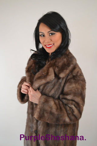 Autumn Haze Solid Brownish Grey Canadian Mink Fur Coat Coats S/M Petit