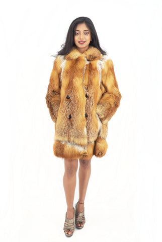 Red Fox Fur Jacket Jackets Large Collar S/M - Purple Shoshana Furs