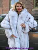 Unique Plush Solid Silver Canadian Blue Fox Fur Coat - Detachable Cape M/L - Purple Shoshana Furs