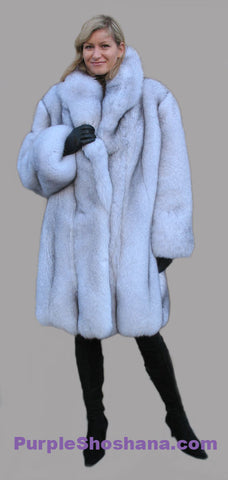 Plush Blue Fox Fur Coat Stroller M/L - Purple Shoshana Furs